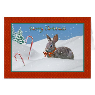 Bunny Rabbit and Candy Cane Christmas Card