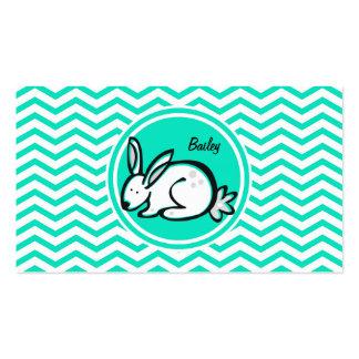 Bunny Rabbit Aqua Green Chevron Business Card Templates