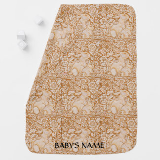 Bunny Rabbit Baby Blanket Gold Vintage Personalize