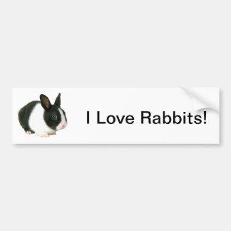Bunny Rabbit Black & White Bumper Sticker