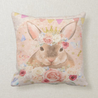 Bunny Rabbit Boho Woodland Girl Nursery Pillow
