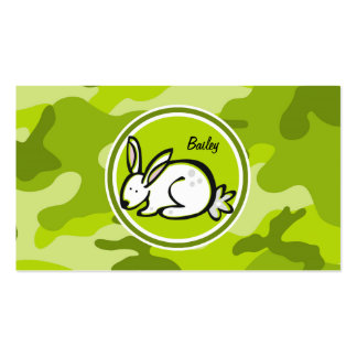Bunny Rabbit bright green camo camouflage Business Cards
