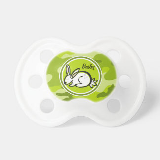 Bunny Rabbit bright green camo camouflage Baby Pacifier