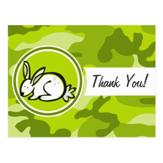Bunny Rabbit; bright green camo, camouflage Postcard