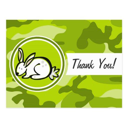 Bunny Rabbit; bright green camo, camouflage Postcard