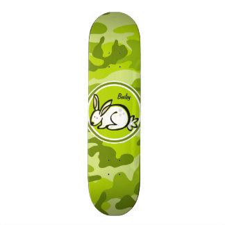 Bunny Rabbit bright green camo camouflage Custom Skate Board
