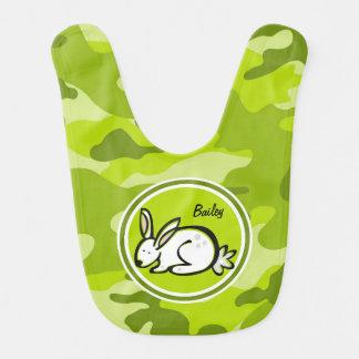Bunny Rabbit bright green camo camouflage Baby Bibs
