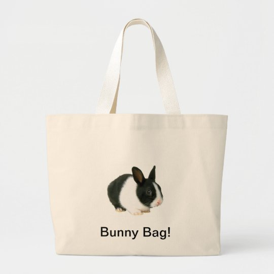 Bunny Rabbit Canvas Bag Black & White
