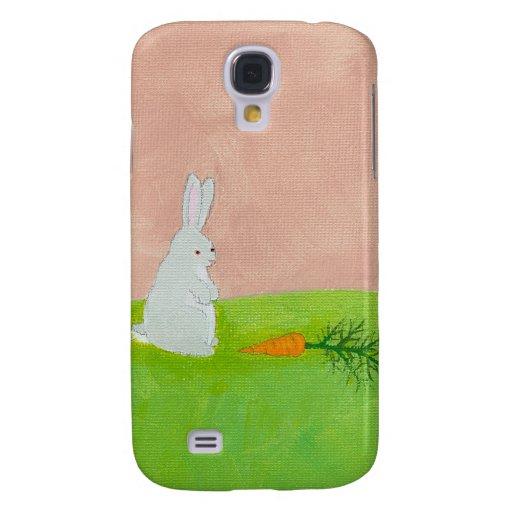 Bunny rabbit carrot cute fun original art painting samsung galaxy s4 cases