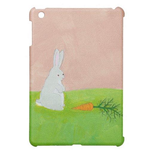 Bunny rabbit carrot cute fun original art painting case for the iPad mini