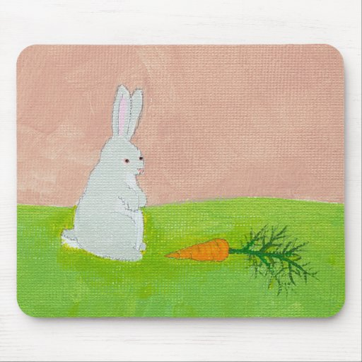 Bunny rabbit carrot cute fun original art painting mouse pads
