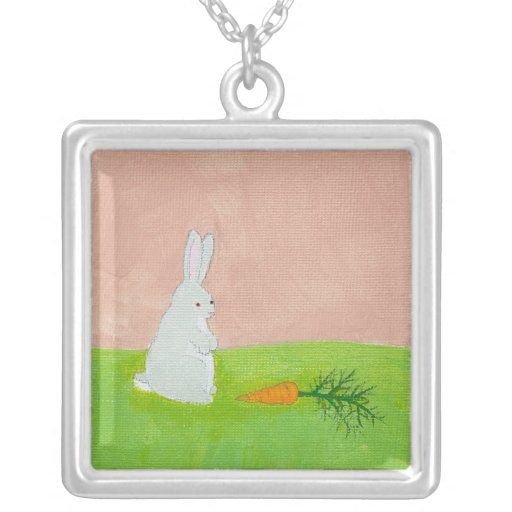 Bunny rabbit carrot cute fun original art painting custom jewelry