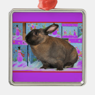 Bunny Rabbit Chritmas with Snowman Holiday Boxes Silver-Colored Square Decoration