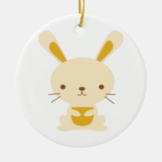 Bunny Rabbit Round Ceramic Decoration