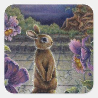 Bunny Rabbit & Flowers Night Dreaming Square Sticker