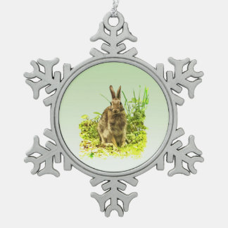Bunny Rabbit in Grass Pewter Snowflake Ornament