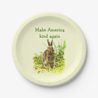 Bunny Rabbit Make America Kind Again Paper Plates 7 Inch Paper Plate