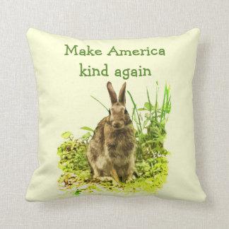 Bunny Rabbit Make America Kind Again Pillow