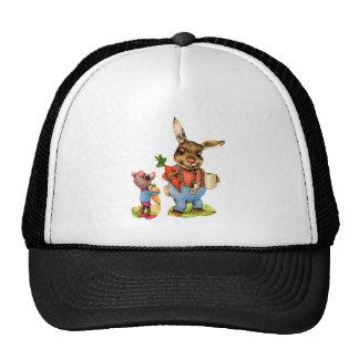 Bunny Rabbit Mouse Vintage Vegetables Antique Hats