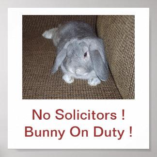Bunny Rabbit No Solicitors Sign Poster