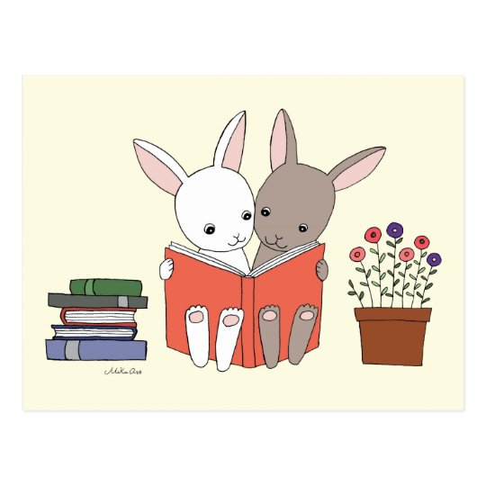 Bunny Rabbit Reading Book Postcard Cute Bunny Book