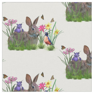 Bunny Rabbit,  Robin, and Flowers, Customizable Fabric
