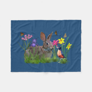 Bunny Rabbit,  Robin, and Flowers, Customizable Fleece Blanket