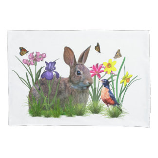 Bunny Rabbit,  Robin, and Flowers, Customizable Pillowcase
