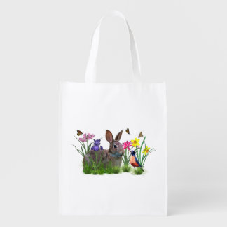 Bunny Rabbit,  Robin, and Flowers, Customizable Reusable Grocery Bag