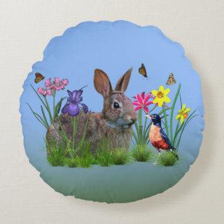 Bunny Rabbit,  Robin, and Flowers, Customizable Round Cushion