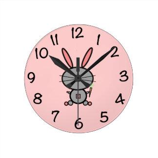 Bunny Rabbit Round Clock