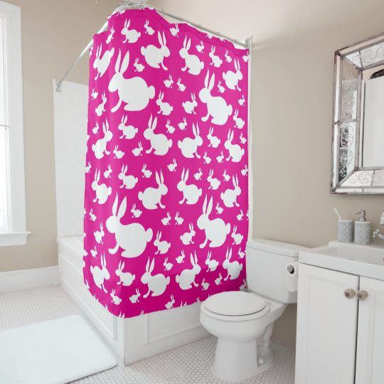 Bunny Rabbit Shower Curtain - Pink and White