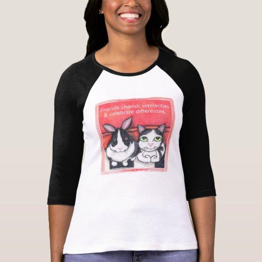 Bunny Rabbit & Tuxedo Cat Friends T-Shirt