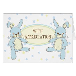 Bunny Rabbit Twins Thank You Notecard