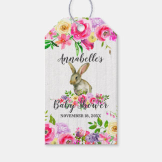 Bunny Rabbit Watercolor Floral Baby Shower Thank Y Gift Tags