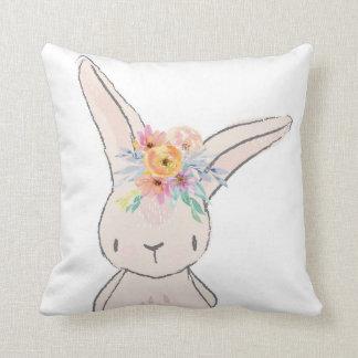 Bunny Rabbit Whimsical Pink Baby Nursery Pillow