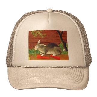 Bunny Rabbit with Carrot Vintage Pet Art Mesh Hat