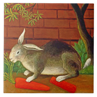 Bunny Rabbit with Carrot Vintage Pet Art Large Square Tile