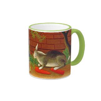 Bunny Rabbit with Carrot Vintage Pet Art Coffee Mug