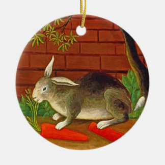 Bunny Rabbit with Carrot Vintage Pet Painting Round Ceramic Decoration