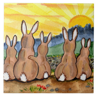 "Bunny Rabbit & Yellow Sunrise 6"" Tile Trivet"
