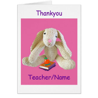 Bunny RabbiTeacher Thankyou Card from son daughter