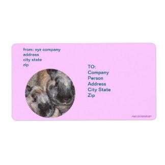 Bunny Rabbits - 2 Brown Silky Bunnies Shipping Label