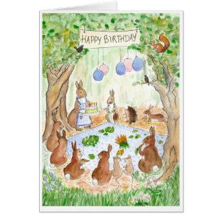 'Bunny Rabbits' Birthday Card
