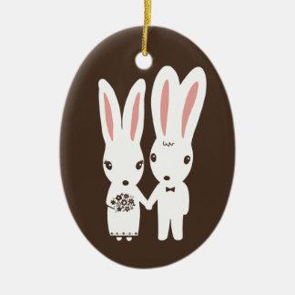 Bunny Rabbits Bride and Groom Wedding Keepsake Christmas Ornament