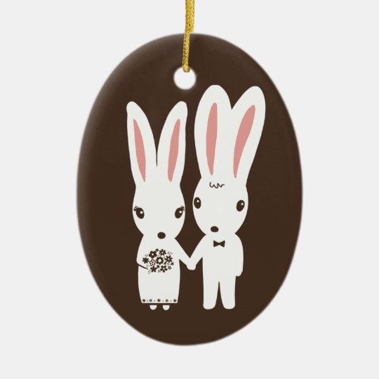 Bunny Rabbits Bride and Groom Wedding Keepsake Christmas