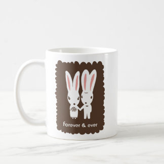 Bunny Rabbits Bride and Groom with Custom Text Coffee Mug