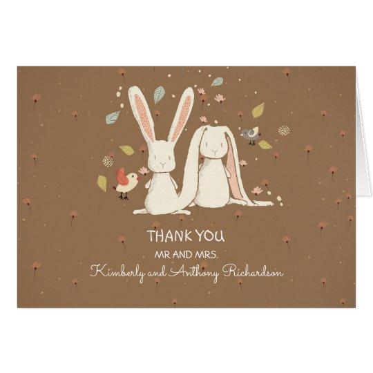 bunny rabbits couple cute thank you card