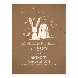 Bunny Rabbits Cute Couple Save the Date Postcard