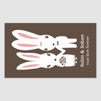 Bunny Rabbits Wedding Bride and Groom Rectangular Sticker